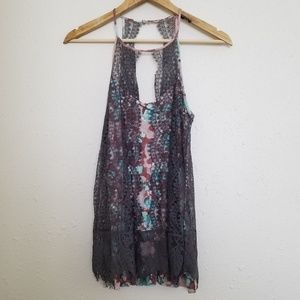Anthropologie Postmark Halter Lace Top